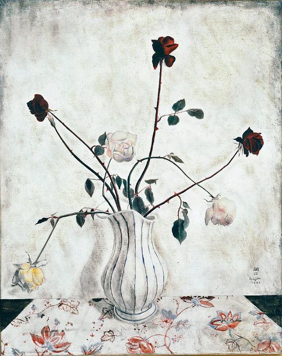 藤田嗣治『バラ』1922年 油彩・キャンバス 81×65cm