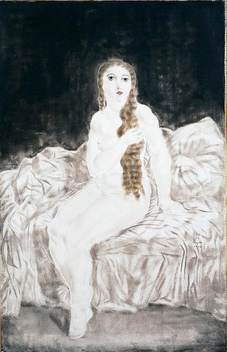 藤田嗣治『長い髪のユキ』1923年 油彩・キャンバス 100×65cm