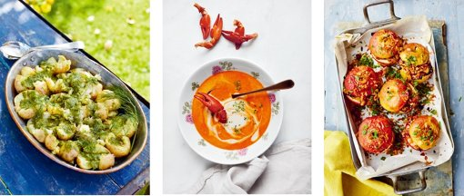 『レイチェル・クーのスウェーデンのキッチン』より スマッシュドポテトとグリーンソース(左)、 ザリガニのスープ(中央)、 ベーコンとプルーンを詰めた焼きりんご(右)©David Loftus