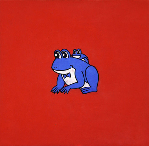 """中村ケンゴ """"Japanese Frogs"""" 1995-2019, mineral pigment, pigment and acrylic on Japanese paper mounted on wood panel"""