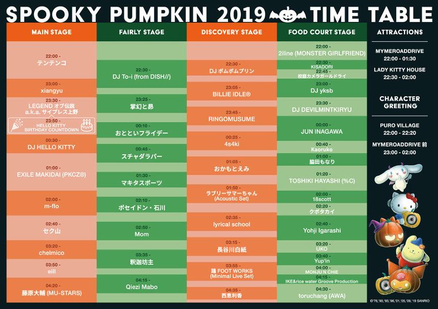 『SPOOKY PUMPKIN 2019 ~PURO ALL NIGHT HALLOWEEN PARTY~』タイムテーブル