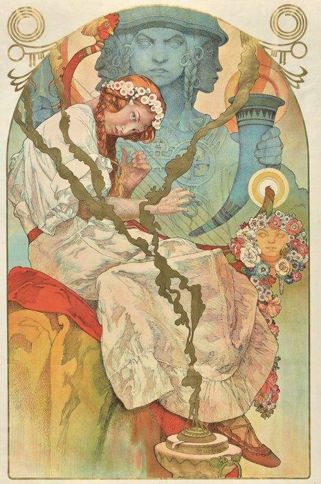 アルフォンス・ミュシャ ポスター『《スラヴ叙事詩》展』(部分)1928年
