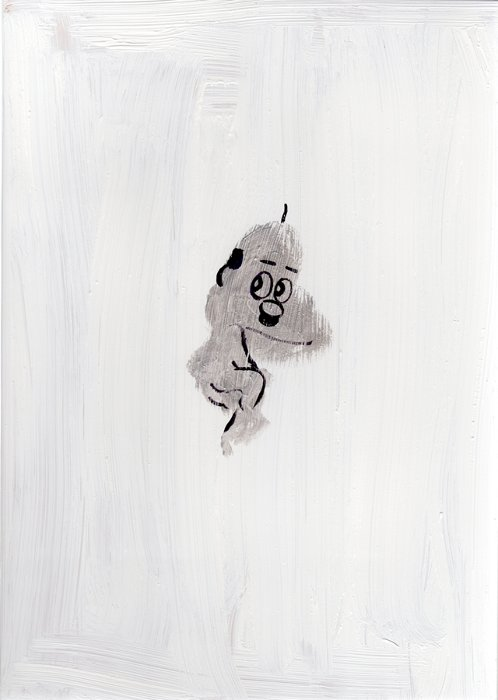 しりあがり寿 板絵『雪オヤジ』42×30mm 木製パネルにアクリル
