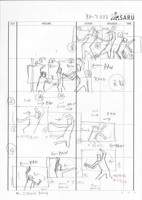 湯浅政明監督による『映像研には手を出すな!』オープニング映像の絵コンテ ©2020 大童澄瞳・小学館/「映像研」製作委員会