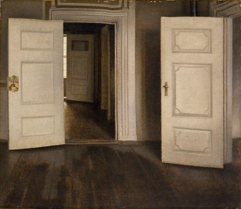 ヴィルヘルム・ハマスホイ『室内―開いた扉、ストランゲーゼ30番地』1905年 デーヴィズ・コレクション蔵 The David Collection,Copenhagen