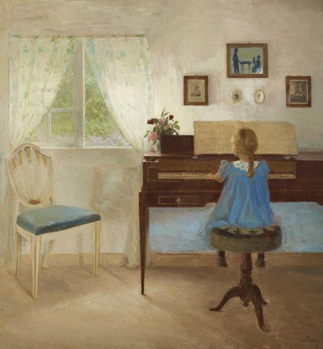 ピーダ・イルステズ『ピアノに向かう少女』1897年 アロス・オーフース美術館蔵 ARoS Aarhus Kunstmuseum / ©Photo: Ole Hein Pedersen