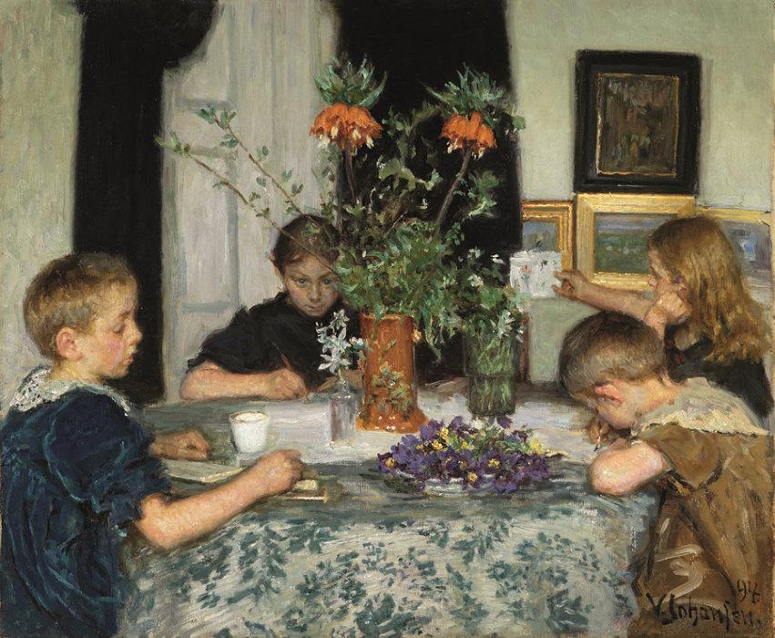 ヴィゴ・ヨハンスン『春の草花を描く子供たち』1894年 スケーイン美術館蔵 Art Museums of Skagen