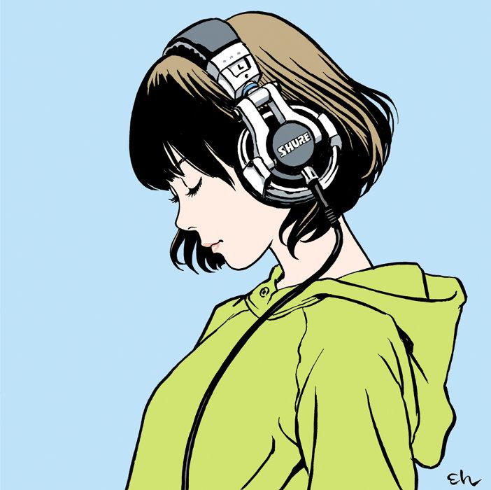 ©江口寿史/Shiggy Jr.『LISTEN TO THE MUSIC』ジャケットイラスト
