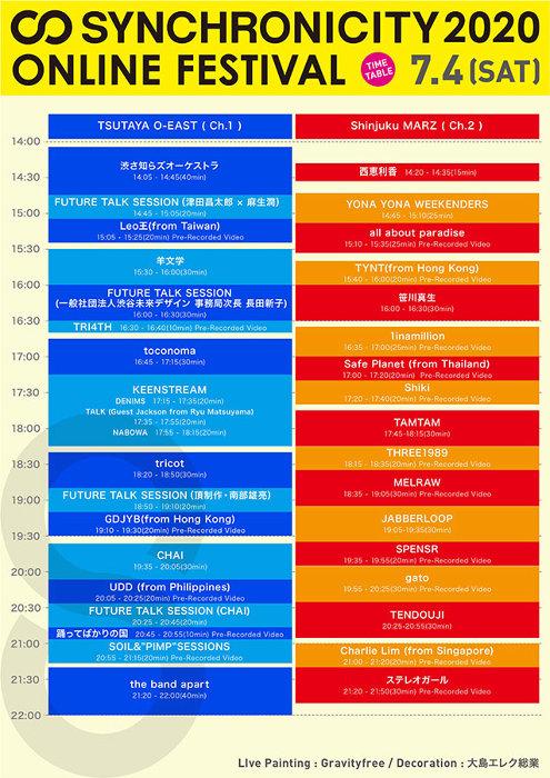 『SYNCHRONICITY2020 ONLINE FESTIVAL』タイムテーブル