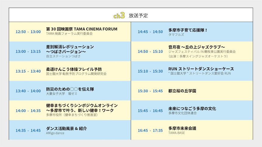 『みんなでつくる多摩市ONLINE文化祭』ch3タイムテーブル