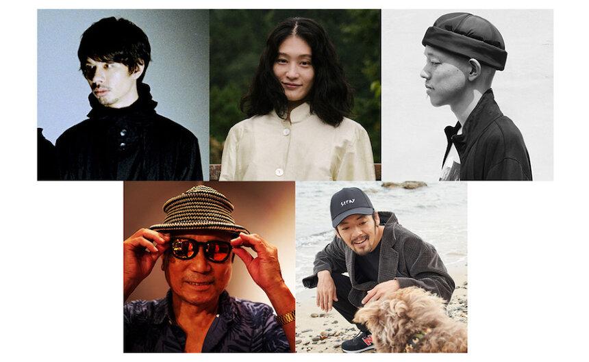 左上から時計回りにオカモトショウ(OKAMOTO'S)、コムアイ、Mars89、七尾旅人、近田春夫