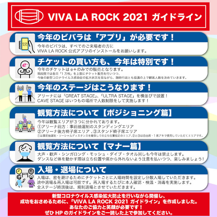 『VIVA LA ROCK 2021』ガイドライン