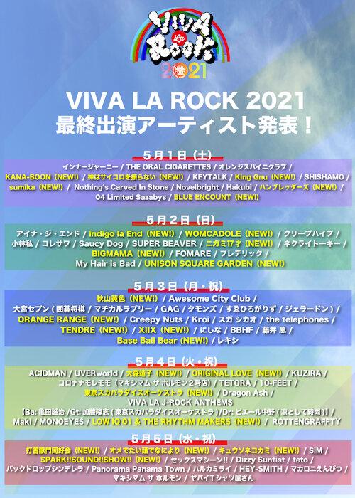『VIVA LA ROCK 2021』全出演者