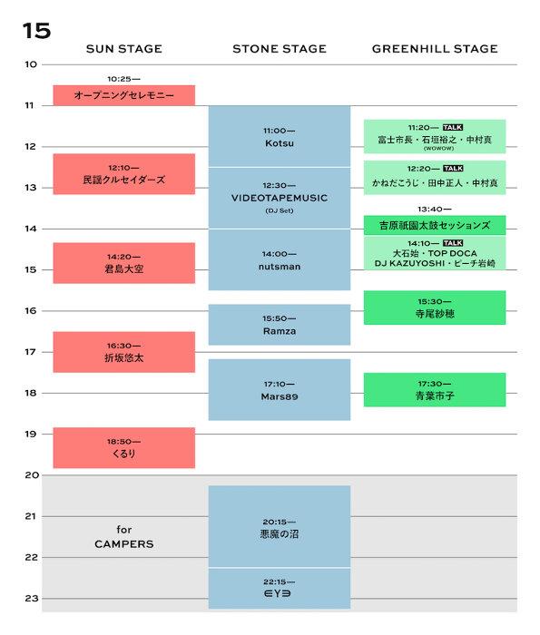 『FUJI & SUN '21』ライブタイムテーブル