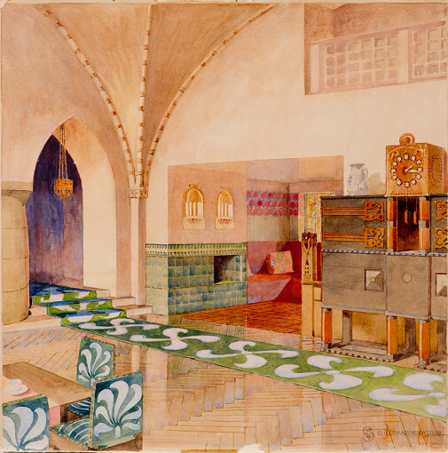 エリエル・サーリネン≪スール=メリヨキ邸、広間の透視図≫、1902年、フィンランド建築博物館
