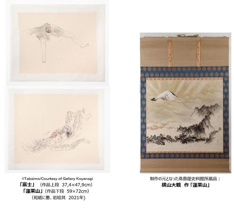 束芋作品、高島屋史料館所蔵品 横山大観『蓬莱山』を元に制作