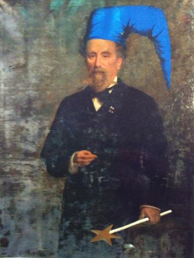 アンティークの肖像画にいたずら描きをした絵画