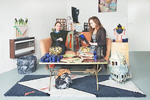 ジェシー・ワイン(2015年AITに滞在)との2人展『Real Texture』 スプラーグとワインによる機能性や装飾を備えた陶芸作品は、自由に配置を変えることやアレンジを加えることも可能とした