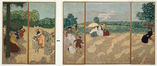エドゥアール・ヴュイヤール『公園 戯れる少女たち』、『公園 質問』、『公園 子守』、『公園 会話』、『公園 赤い日傘』 1894年 ©RMN-Grand Palais (musee d'Orsay) / Herve Lewandowski / distributed by AMF