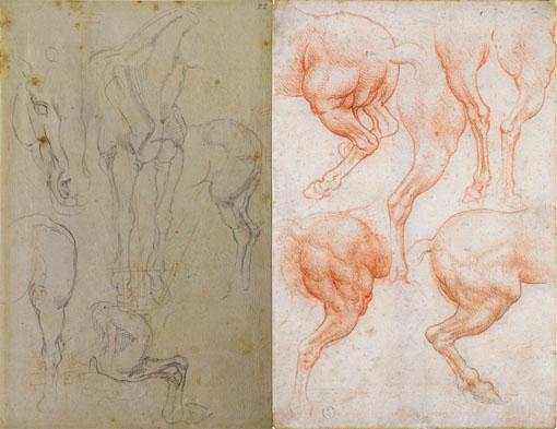 左:ミケランジェロ・ブオナローティ『馬の習作』1542-1545年 黒チョーク、赤チョークの跡 / 紙 カーサ・ブオナローティ ©Associazione Culturale Metamorfosi and Fondazione Casa Buonarroti 右:レオナルド・ダ・ヴィンチ『馬の後脚の習作(トリヴルツィオ騎馬像)』 1508年頃 赤チョーク、黒チョークの跡 / 紙 トリノ王立図書館 ©Torino, Biblioteca Reale