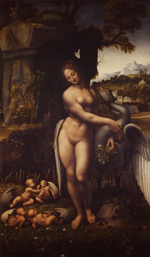 レオナルド・ダ・ヴィンチに基づく『レダと白鳥』1505-10年頃 油彩 / 板 ウフィツィ美術館 ©Firenze, Gallerie degli Uffizi, Gabinetto fotografico delle Gallerie degli Uffizi