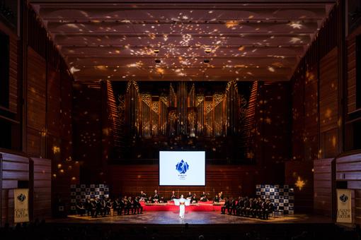 """式のオープニングは、東京藝術大学音楽部邦楽科による""""編曲松竹梅""""が華を添えた"""