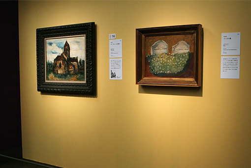 左から:佐伯祐三『オーヴェールの教会』、前田寛治『ゴッホの墓』