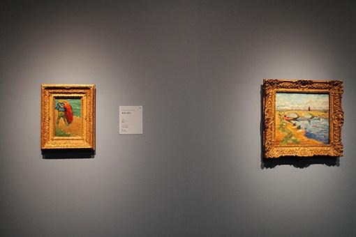 フィンセント・ファン・ゴッホが南仏で描いた『ラングロワの橋』のうち、残された絵の一部『水夫と恋人』(左)