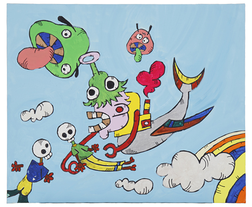香取慎吾『イソゲマダマニアウ』2010年 油性マジック、アクリル、キャンバス/サイズ72.5センチ×60.8センチ 撮影:木奥恵三