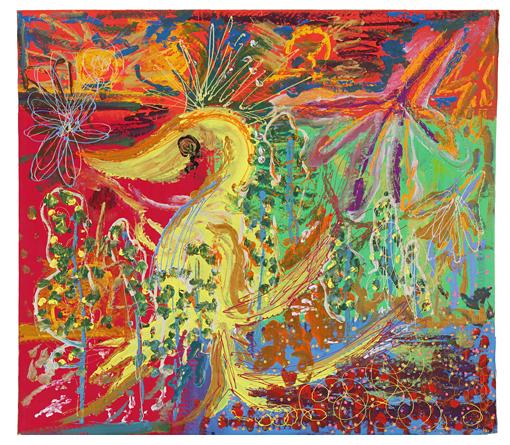香取慎吾『火のトリ』2014年 デコレーションペン、アクリル、ダンボール/83センチ×74センチ 撮影:木奥恵三