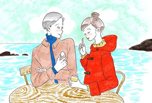 たなかさんによる、「またいちの塩 工房とったん」での妄想デートのイラスト