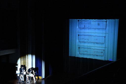 手元に伏せられたカードの組み合わせをスクリーンに投影。ジャルジャルの2人がカードをめくっていく