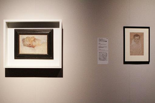 (左)『死の床の老人』、(右)生後わずか81日で急死した息子の肖像画をチョークで描いた作品