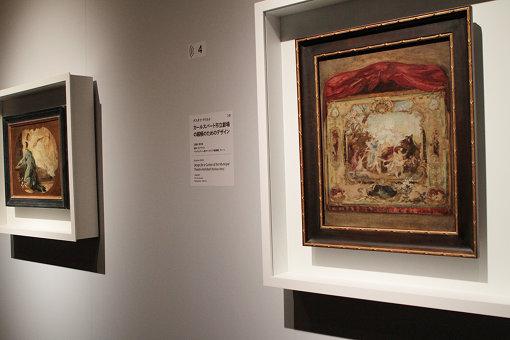(右)グスタフ・クリムト『カールスバート市立劇場の緞帳のためのデザイン』
