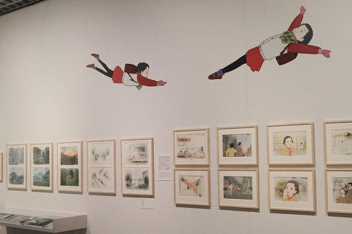 『おもひでぽろぽろ』 ©1991 岡本螢・刀根夕子・Studio Ghibli・NH 展示風景