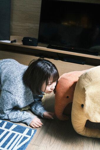 部屋には戸田の愛する「象さん」たちも