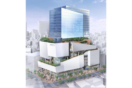 1973年に開業し、2016年8月にビルの建て替えのために一時閉店、2019年11月22日に改めてグランドオープンした渋谷PARCOの外観パース(©2019, Takenaka Corporation)
