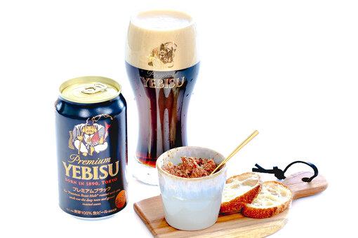 「ヱビス プレミアムブラック」とバター醤油のビーフパテ / 写真提供:ヱビスビール