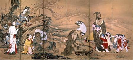 曾我蕭白『群仙図屏風』(左隻)国(文化庁)保管(展示期間:5月2日〜20日)
