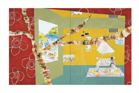 『VOCA展2013』 VOCA賞 鈴木紗也香『あの日の眠りは確かに熱を帯びていた』油彩、アクリル、布、カンバス 227.3×363.6×5cm 撮影:上野則宏