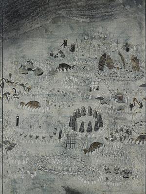 田中望『ものおくり(部分)』230.0×340.0cm 白亜地、胡粉、墨、箔、モデリングペースト、岩絵具、綿布パネル