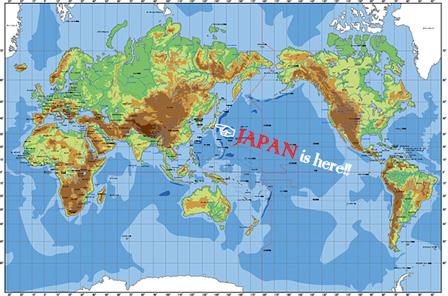 世界地図上の日本