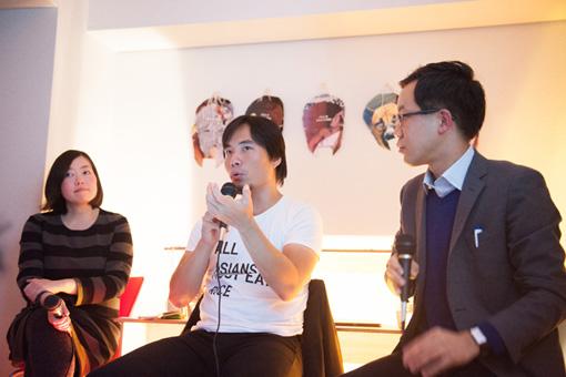 左から、堀内奈穂子(AIT)、アティコム・ムクダプラコーン、福冨渉(タイ文学研究者)